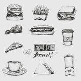 Установите с иллюстрацией фаст-фуда Вектор эскиза, ресторан, меню Гамбургер, хот-дог, сандвич, пицца, француз жарит иллюстрация штока