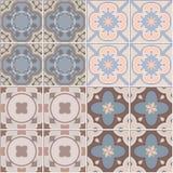 Установите с красивой орнаментальной предпосылкой плитки Иллюстрация вектора для картин Стоковые Фото