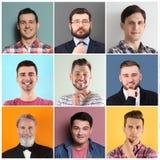 Установите с красивыми портретами людей на предпосылке цвета стоковые изображения rf