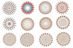 Установите с кружевными мандалами цвета Иллюстрация штока