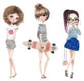 Установите с милыми девушками шаржа бесплатная иллюстрация