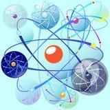 Установите с мирными эмблемами атома с различными формами орбиты на предпосылке аквамарина Стоковая Фотография RF