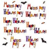 Установите слова хеллоуин шаржа Стоковое Фото