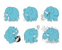 Установите слонов для различных занятий Стоковая Фотография RF