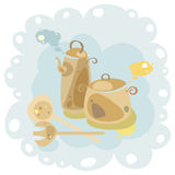 Установите с лотком и чайником иллюстрация вектора