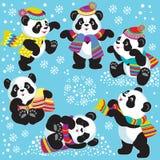 Установите с пандой шаржа в зиме иллюстрация вектора
