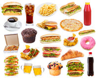 Установите с продуктами быстро-приготовленное питания стоковое фото