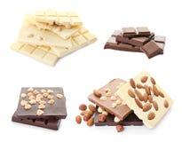 Установите с различными видами очень вкусного шоколада и гаек стоковые изображения