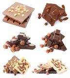 Установите с различными видами очень вкусного шоколада и гаек стоковое фото