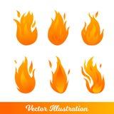 Установите с различными видами пламен градиента иллюстрация вектора