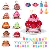 Установите с различными тортами Стоковое Изображение RF