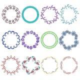 Установите с рамками круглой руки нарисованными Multicolor Стоковые Фотографии RF
