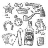 Установите с символами Диких Западов и казино Гравировка вектора винтажная иллюстрация вектора