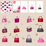 Установите с сумками woman конструируйте ваше Стоковое Изображение RF
