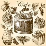 Установите с сладостными пирожными и красочными macarons Бесплатная Иллюстрация