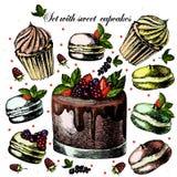 Установите с сладостными пирожными Иллюстрация штока