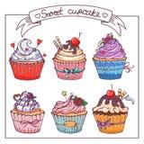 Установите с сладостными пирожными бесплатная иллюстрация