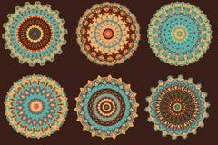 Установите с теплыми мандалами цвета Иллюстрация штока