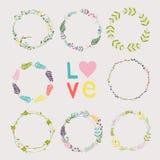 Установите с флористическими венками Шаблон для wedding, день матерей, birt Стоковая Фотография