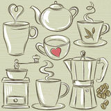 Установите с чашкой горячего питья, вектора иллюстрация штока