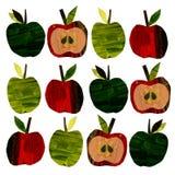 Установите с яблоками выреза бумажными иллюстрация вектора