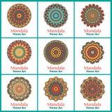 Установите с multicolor мандалами Стоковая Фотография RF