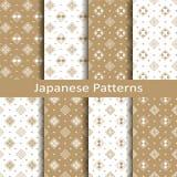 Установите с 8 paterns безшовного вектора японскими флористическими геометрическими дизайн для ткани, упаковывая, крышки Стоковые Фото