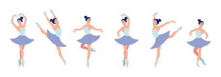 Установите танцуя балерин в плоском стиле изолированных на белой предпосылке Характер балерины мультфильма с различными представл иллюстрация штока