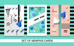 Установите текстуру, картину и геометрические элементы стиля карточек Мемфиса ретро Стоковое Изображение