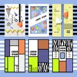 Установите текстуру, картину и геометрические элементы стиля карточек Мемфиса ретро абстрактное самомоднейшее Стоковое Фото