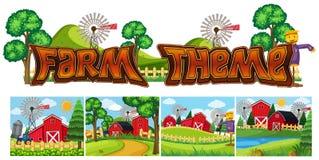 Установите темы фермы иллюстрация штока