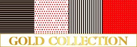 Установите точки польки картины на красной и белой предпосылке Стоковая Фотография