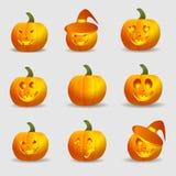 Установите тыквы на хеллоуин Стоковые Изображения