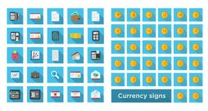 Установите финансы значка и установите символ валюты на золотой монетке стоковые изображения