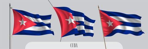 Установите флага Кубы развевая на изолированной иллюстрации вектора предпосылки иллюстрация вектора