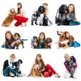 Установите фото людей с их собаками Стоковое фото RF