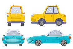 Установите фронта 2 автомобилей и взгляда со стороны, простого автомобиля, спортивной машины, изолированной на белой предпосылке иллюстрация вектора