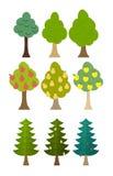 Установите фруктовые дерев дерев значка дерева, хвои, лесные деревья Вектор Illust Стоковое Изображение RF