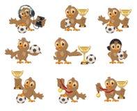 Установите футбол птицы сыча Выигрыш в чемпионате футбола Спорт придают форму чашки и медаль иллюстрация вектора