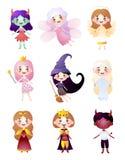 Установите характера детей в различных одеждах костюма праздника бесплатная иллюстрация