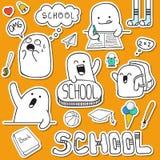 Установите характеры и школьные принадлежности doodle стикера Стоковое фото RF