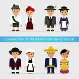 Установите характеры различных национальностей Стоковые Изображения RF