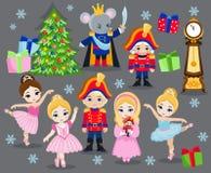 Установите характеры рождества шаржа для Щелкунчика сказки Стоковые Изображения RF