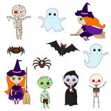Установите характеры хеллоуина Стоковое Изображение