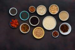 Установите хлопья Cle семян superfood вегетарианской здоровой еды различные Стоковое Фото