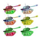 Установите цвета hippie танков иллюстрация вектора