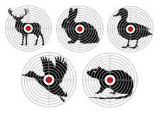 Установите цели для животной стрельбы Звероловство тренировки вектор бесплатная иллюстрация