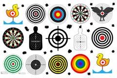 Установите цель для стрельбища, пулевых отверстий, вектора Стоковое Изображение