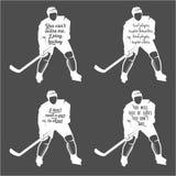 Установите цитаты ofhockey мотивационные Стоковая Фотография