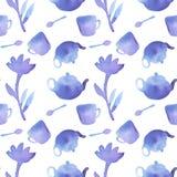 установите чай Безшовная картина с чайником, ложкой Стоковые Изображения